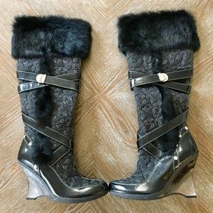 Baby Phat Black Leather Fur Knee High Boots 8